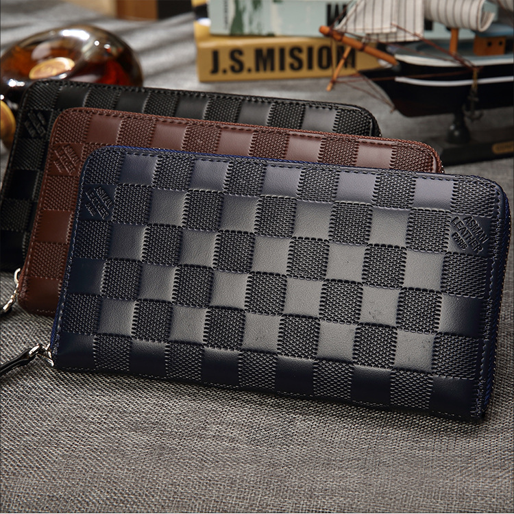 020418 New Hot Man Fashion Zipper Wallet Bag Male Long Design Purse