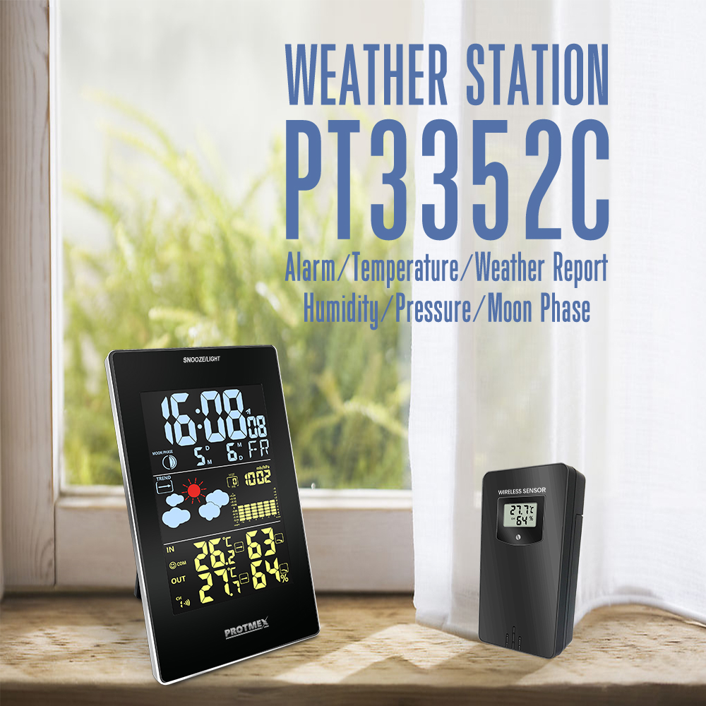 Image 4 - Wireless Weather Station, Protmex PT3352C Digital Weather  Forecast Station Indoor Outdoor Thermometer HygrometerTemperature  Instruments