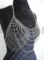 SALE 20 Sexy Silver Body Chain Bra Burning Man Festival Clubwear Halloween Costume