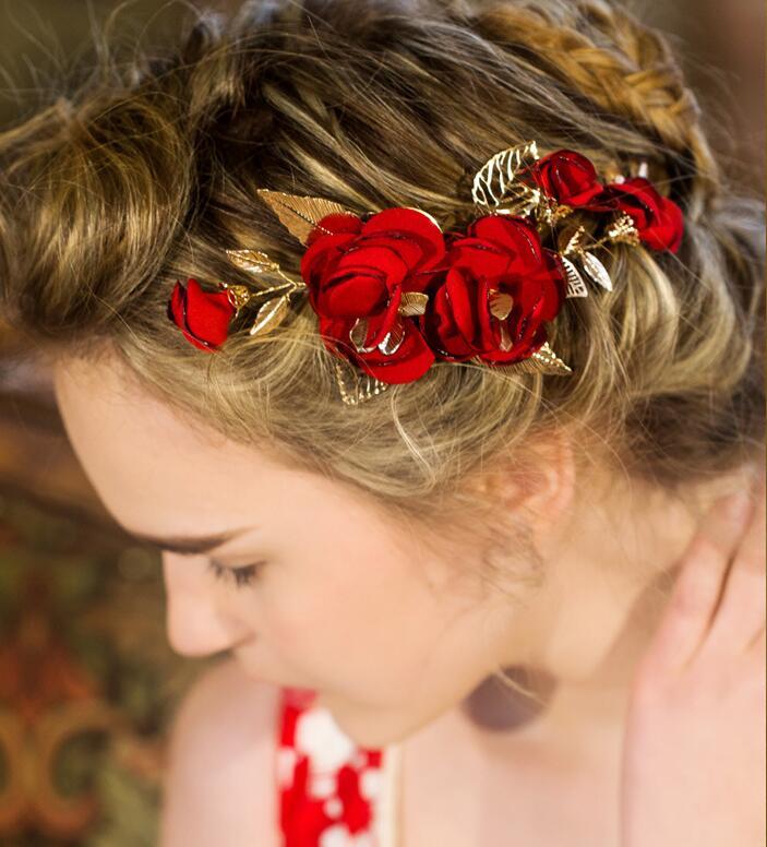 Jonnafe Handmade Red Flower Wedding Prom Hair Clip Jewelry Gold Leaf