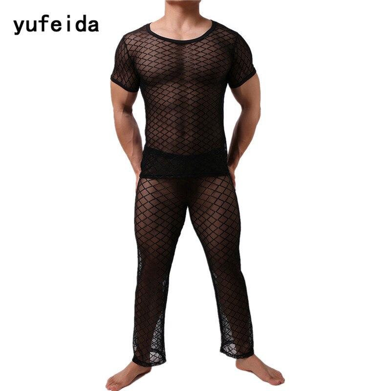 YUFEIDA Sexy Men Long Johns Underwear Mens Short Sleeves Mesh Transparent Sleepwear Nightwear Underwear Sets Long Johns