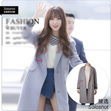 women wool cashmere coat EXPORT KOREA MSBE 2016 winter factory warm tops fashion girl casual bang stitchwork female overcoat 030