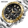 Новейшие MEGIR мужские часы, хронограф кварцевые Бизнес Мужские часы лучший бренд класса люкс водонепроницаемые наручные часы Reloj Hombre Saat 2019