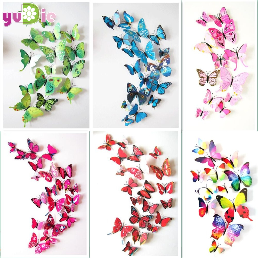 12pcs/set New Arrive Mirror Sliver 3D Butterfly Wall Stickers Party ...