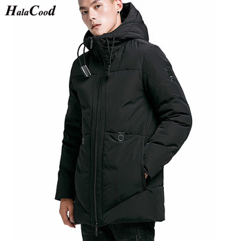 HALACOOD Brand Winter Warm Jacket Men Hooded Thick Parkas Casual Pocket Windproof Fur Coat Men Windbreaker Cotton-padded Jackets