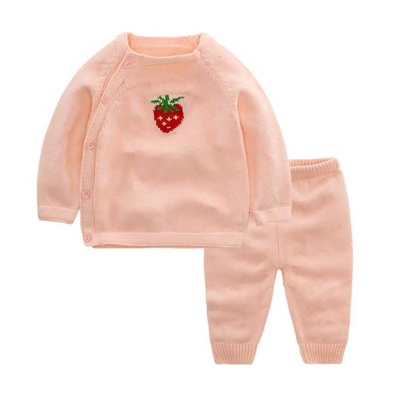 New Born Baby Clothes Strawberry Pattern Baby Sets Soft Warm Long Sleeve Sweater Pants Sets 2017 Autumn Cotton Children Clothes warm thicken baby rompers long sleeve organic cotton autumn