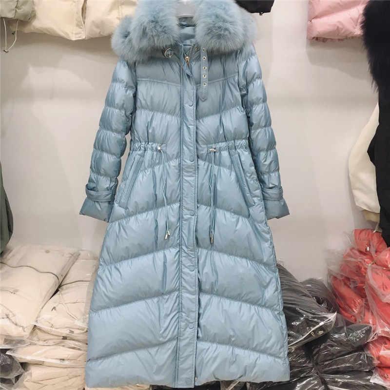 Sharezz 2019 пуховое пальто зимняя новая корейская мода; Слим длинный Лисий меховой воротник белый пуховик Женская Толстая теплая пуховая парка