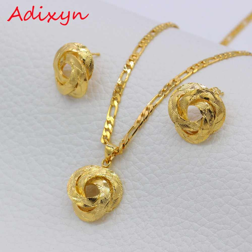 Adixyn Small Charms African Necklace/Earrings/Pendant Jewelry Set for Women/Girls/Kids Fashion Metal Russia Jewelry Gifts N01205