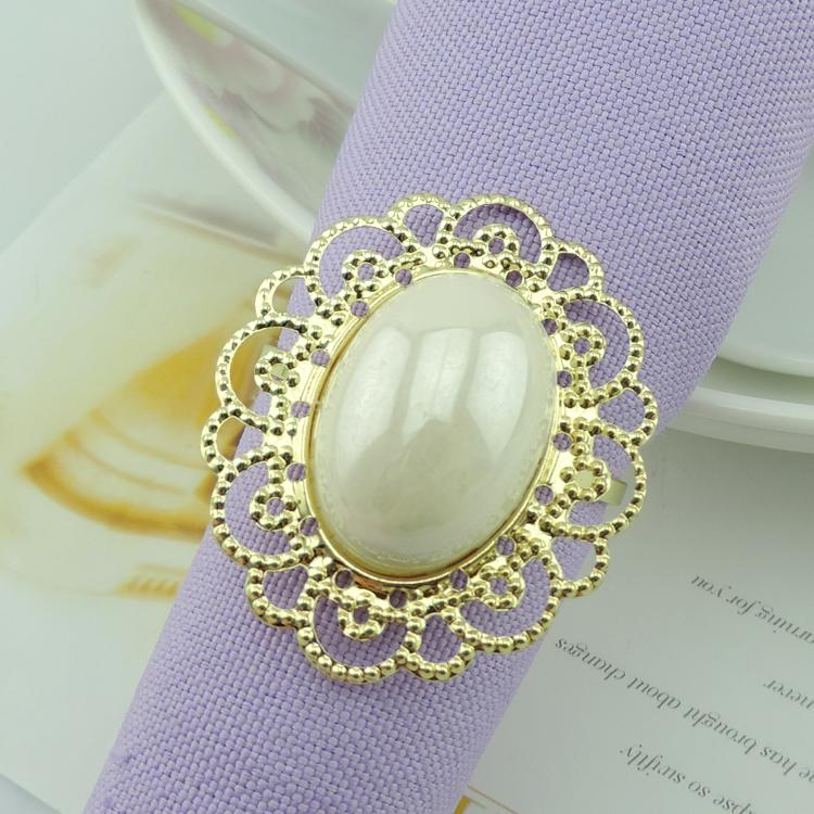 Gold Metal Big White Pearl Flower Styles Napkin Rings Napkin Buckle