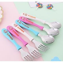 Children Flatware Fork And Spoon Easy Grip Tableware Set Cartoon Anti-Hot Shatter-Resistant(China)