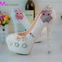 Новый стиль любовник свинья горный хрусталь свадебные туфли белый жемчуг высокие каблуки вечерние туфли Большой размер платформы ну вечеринку пром насос
