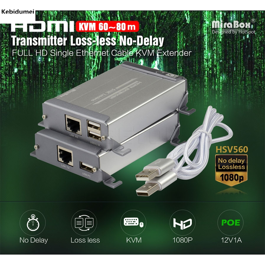 HSV560 HDMI Extender 1080P One Pair KVM Over Cat Cable Support USB Keyboard And Mouse Transmit