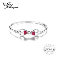 JewelryPalace Forever Love Сердце 1.6ct Создан Рубин Браслет Стерлингового Серебра 925 Браслет Для Женщин Fine Jewelry Подарок(China (Mainland))