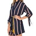 Мода Лето Рубашка ропа mujer Нагрудные Пояса Полосатый Длинные Рубашки Женщины blusas camisas mujer y LFYZ2477