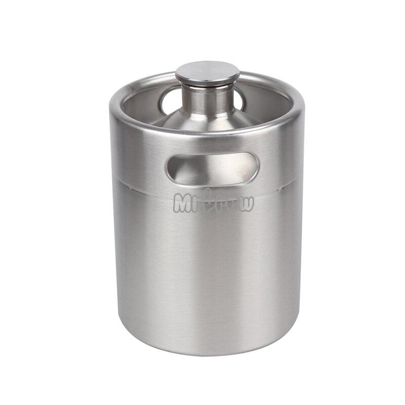 304 Stainless Steel 5L/3.6L/2L Mini Keg Beer Pressurized Growler Portable Beer Bottle Home Brewing Beer Making Tool 4