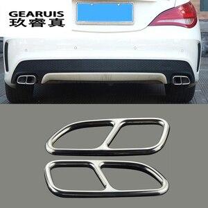 Автомобильный Стайлинг Автомобильная рамка для декора хвоста горла для Mercedes Benz CLA C117 накладка на выхлопную трубу наклейки автомобильные ак...