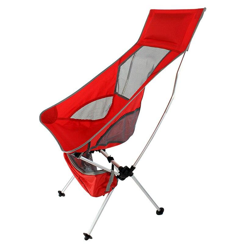 Chaise de Camping pliante légère portative rouge colorée pour la randonnée, la randonnée, le pique-nique