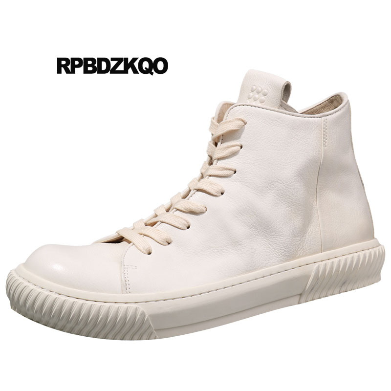 Men Designer Flat Booties Zipper High Top Lace Up Full Grain Leather Trainer Boots 2018 White Sneakers Men's Shoes Ankle Genuine high top sneakers designer shoes men quality outdoor autumn trainer genuine leather short full grain lace up booties black boots