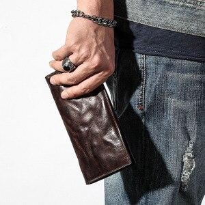 Image 2 - AETOO ultra ince erkek uzun cüzdan deri orijinal retro cüzdan kişilik vintage kafa katman deri basit genç erkek cüzdan