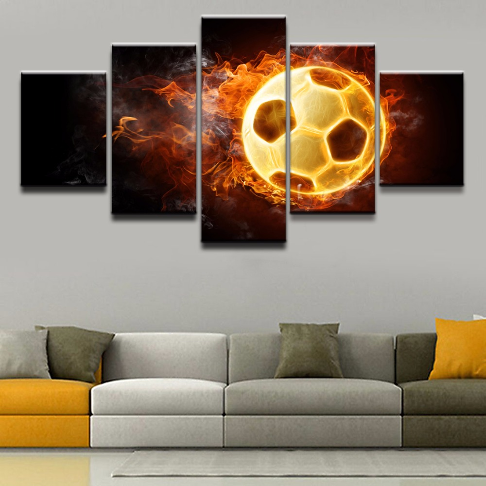 Canvas Wall Art Pictures Frame Boys Room Living Room Decor 5 Pieces Flame Sports Soccer Draw HD Printed Posters Paintings