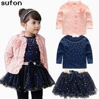 На весну и зиму Комплекты одежды для маленьких девочек комплект из 3 предметов костюм пальто с цветком для девочек + голубая футболка + юбка-п...