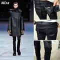 Hombres de la marca de Moda Runway Encerado Recubrimiento Brillante Stretch Delgado Negro Biker Washed Jeans Tamaño M-2XL Slim fit negro jeans ajustados hombres