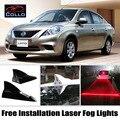 Instalação gratuita Para Nissan Latio/Sunny/Versa Sedan/Tubarão Energia Solar Fin Laser Fog Lâmpada/Decoração Do Carro Aviso luzes