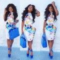 2017 Vestido de Ropa de Mujer Vestido de Promoción de La Venta Directa de Poliéster Africano Africano Apretado Atractivo Y Colorido de Impresión Ropa