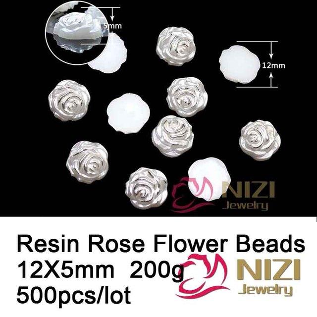 Flor de Rose Granos de la Resina de Flatback Para La Decoración de La Joyería 12x5mm 500 unids Moda Perlas de Resina Cabochon Para Nail Art