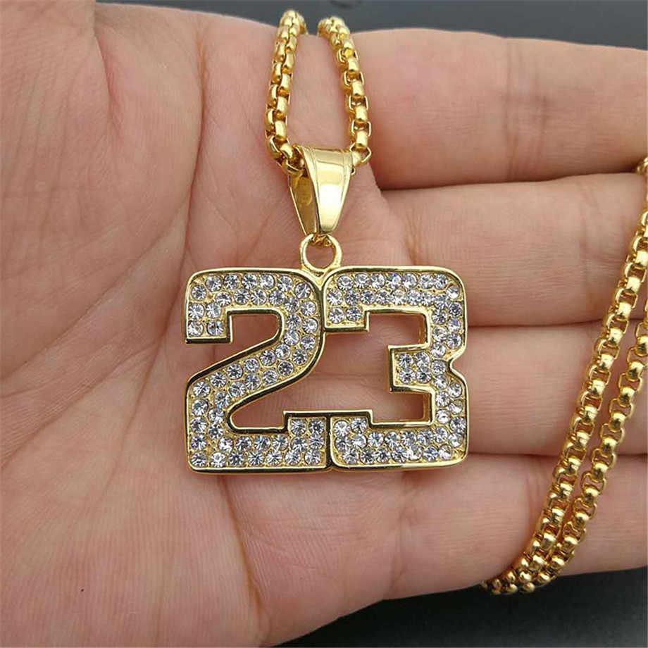 Iced Out do koszykówki 23 naszyjnik i wisiorek z łańcuch ze stali nierdzewnej złoty kolor Bling Cubic cyrkon męska Hip hop biżuteria dla Gif