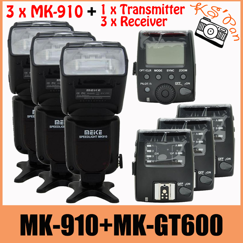3 Sets Meike MK-910 MK910 Flash For Nikon I-TTL 1/8000s SYNC Flash Speedlight Speedlite + MK-GT600 Trigger Transmitter Receiver meike mk 910 mk910 i ttl 1 8000s hss sync master