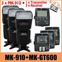 3 zestawy Meike MK 910 MK910 Flash dla Nikon I TTL 1/8000 s synchronizacji lampy błyskowej Speedlite + MK GT600 wyzwalania nadajnik odbiornik|Lampy błyskowe|Elektronika użytkowa -