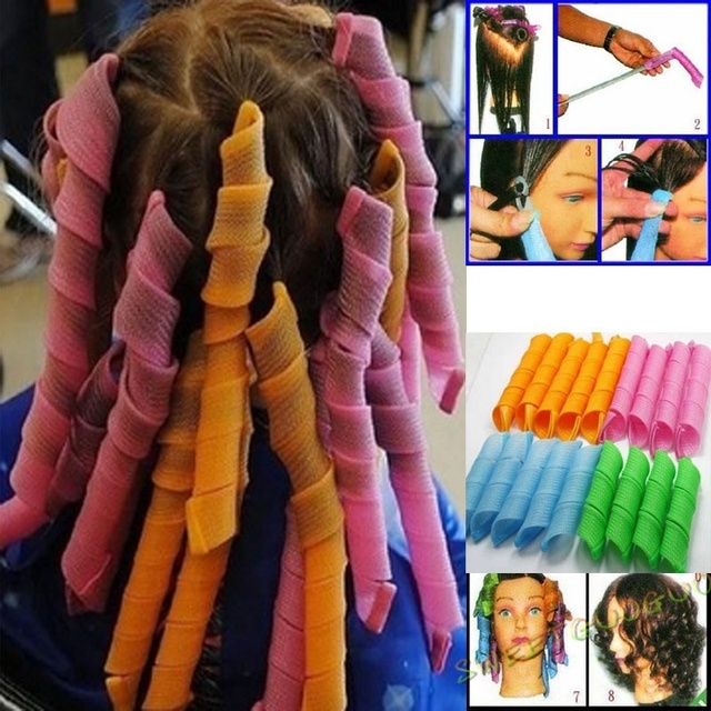 45CM Plastic Hair Rollers 40pcs Rollers + 2 hook sticks Magic Hair For Curler Leverage Pear Head Styling Plastic Hair Curlers
