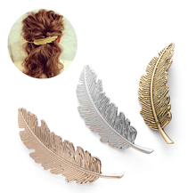 M MISM Vintage Hair Clips For Women Metal Feather Silver Golden Barrette Hairpins Korean New Fashion Kawaii Prendedor De Cabelo()