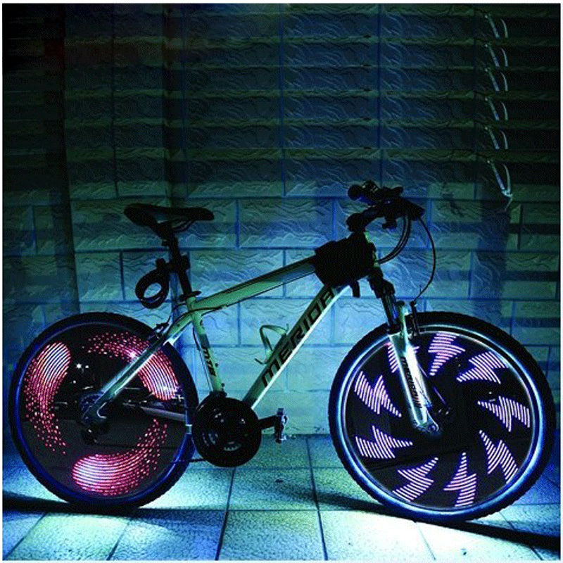 Leadbike Bicycle Wheel Light Double Display 21 Flash Patterns With 32 RGB LED Lights Lamp for Bikes Night Riding Free Shipping motion activated blue light 7 led message display wheel lights for bikes and cars