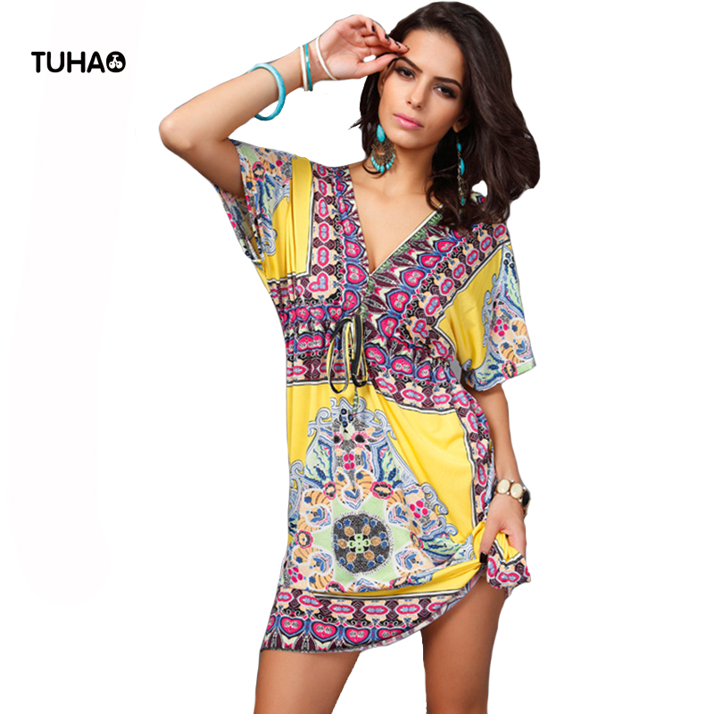 TUHAO Drawstring Hight Waist Deep V-neck Beach Dress Large Size Summer Cloth For Women Short Sleeve Print Boho Dresses T55016