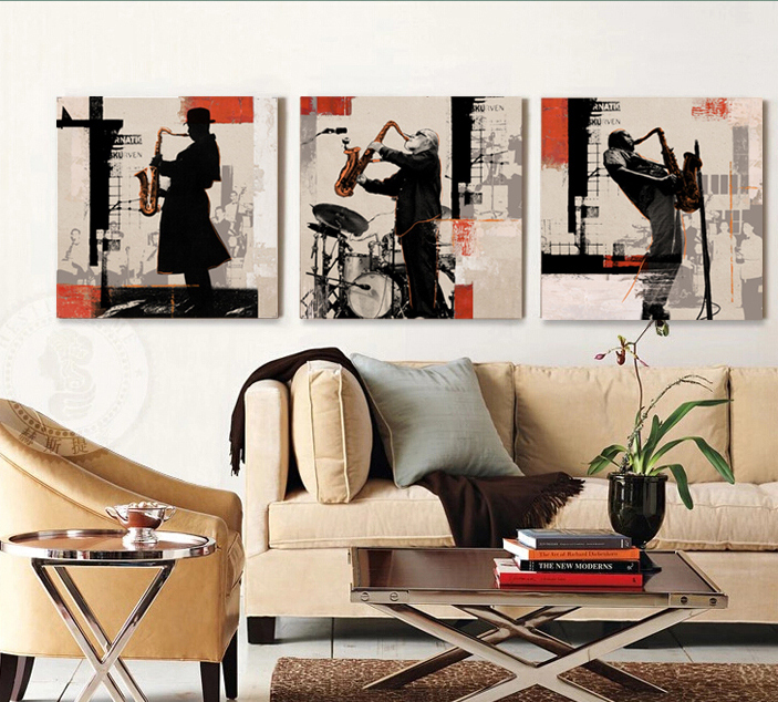 Rock Jazz Saxophone Performances Poster Home Decor Wall Art 3 Piece Canvas Bar Cafe Bedroom