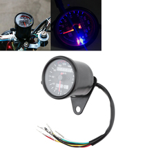 Motorcycle Dual Mileage Odometer 12V Retro LED Indicator Light with Luminous Double Instrumentation for
