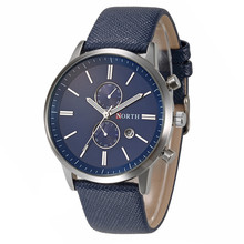NORTH Quality mens watches top brand luxury Fashion Slim Genuine Leather Band Analog Quartz Watches Wrist Watch relogio
