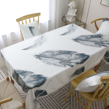 Beige feather printed tablecloth lace decorative rectangular party table cloth new polyester & cotton table cover for kitchen