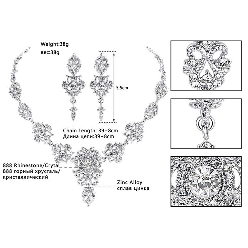 Mecresh Rhinestone Flower Conjuntos de joyería nupcial para mujer - Bisutería - foto 3