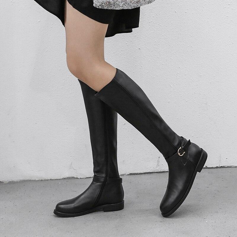 Vache Casual Printemps Noir Femme Western 2019 Taille Hiver 42 Genou Femmes Dames Bas En 33 Cuir Chaussures Haute Bottes Talon qwRt6wF