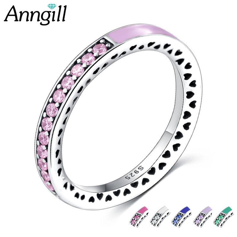 Luxury Ladies Women Rings 925 Sterling Silver Radiant Heart Enamel Zirconia Finger Ring Green Blue Pink ValentineS Day Jewelry