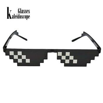 8c3ceb6dc2 Caleidoscopio gafas Pixel gafas lidiar con ello gafas de sol hombres Vida  de matón de 8 bits gafas para hombre