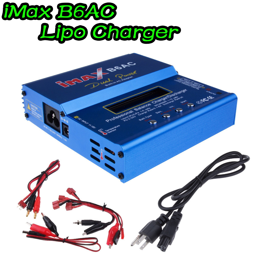 iMAX B6 AC Lipo Charger For Car/Helicopter 2S-6S RC Battery Balance Charger + EU/US/UK/AU plug power supply wire 1pcs 2s 3s 4s 5s 6s balance charger cable lipo battery balance charger cable for imax b3 b6 connector plug wire