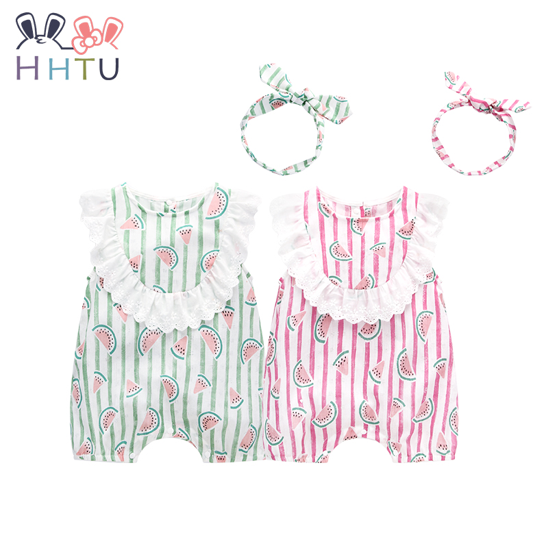HHTU Set Baby Girls Boys Rompers Cute Clothes Newborn Rompers Cotton Jumpsuit for Summer Girl Clothes Infant Bow Headgear cotton baby rompers set newborn clothes baby clothing boys girls cartoon jumpsuits long sleeve overalls coveralls autumn winter
