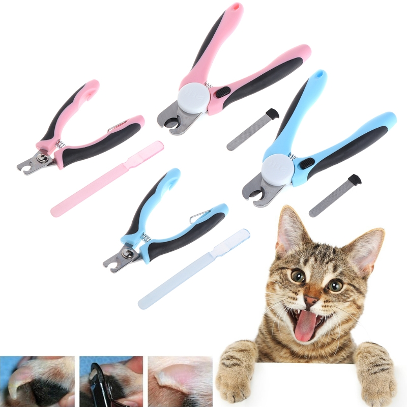 Small/Large Safe Pet Dog Cat Grooming Clippers Professional Stainless Steel Nail Safety Guard File Blue/Pink