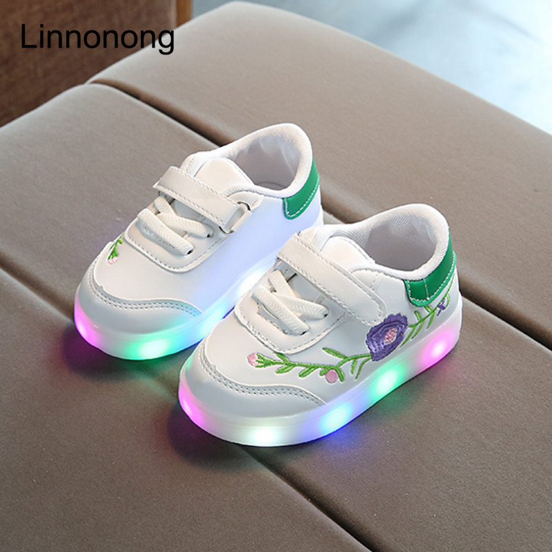 Linnonong 2017 New Children Sneakers Fashion Latest Kids Sport Running Shoes Girls Embroidery Floral Sneakers Leather White Shoe