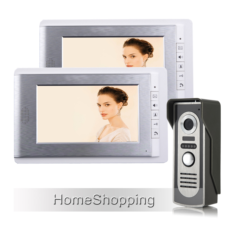 FREE SHIPPING Brand New 7 Color Screen Video Intercom Door Phone System 2 White Monitor 1 HD Doorbell Camera In Stock Wholesale brand new wired 7 touchkey color screen video door phone intercom system 1 monitor 1 doorbell camera free shipping in stock