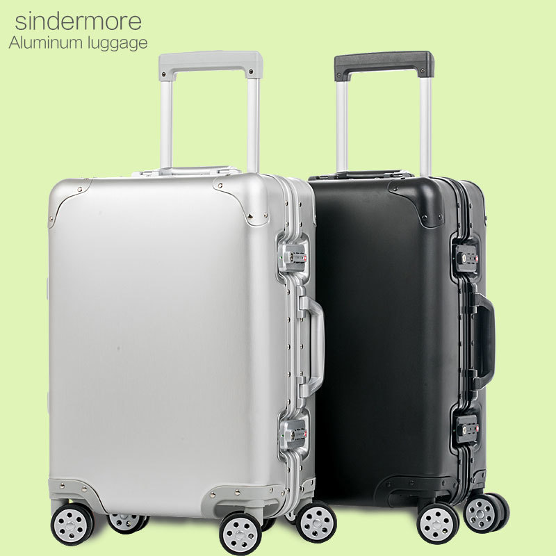 20 24 Matte 100% Aluminum Luggage Suitcase Travel Traveling Trolley Rolling Spinner Hardsider Carry On Luggage Suitcase vintage suitcase 20 26 pu leather travel suitcase scratch resistant rolling luggage bags suitcase with tsa lock